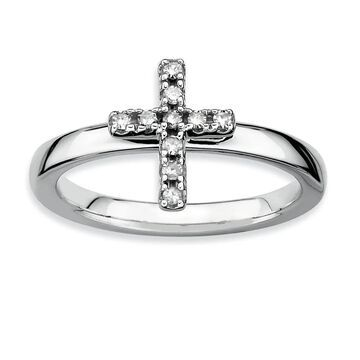 Versil Sterling Silver Stackable Cross Diamond Ring