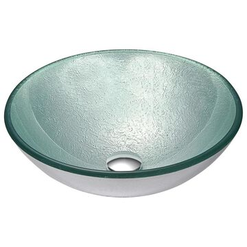 ANZZI Spirito Series Deco-Glass Vessel Sink in Churning Silver (Churning Silver Finish)