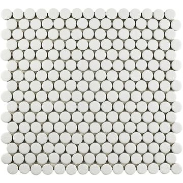 SomerTile 12x12.625-inch Penny Scholar White Porcelain Mosaic Floor and Wall Tile (10 tiles/10.74 sqft.)