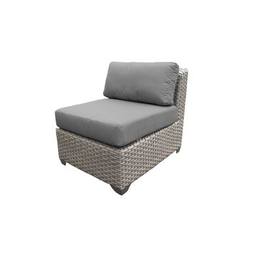 TK Classics Florence Beige Wicker Outdoor Armless Sofa