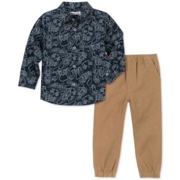 Kids Headquarters Toddler Boys 2-Pc. Race Car-Print Oxford Shirt & Twill Pants Set
