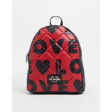 Love Moschino love print backpack in red
