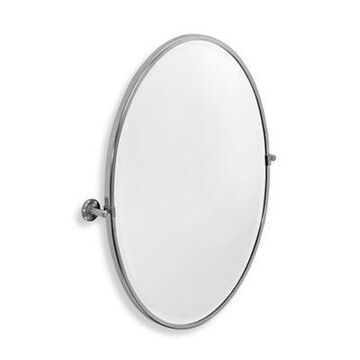Gatco Latitude II 23.63-Inch x 27.5-Inch Framed Oval Mirror in Satin Nickel
