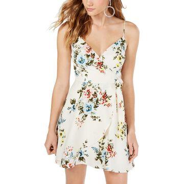 Trixxi Womens Juniors Floral Faux Wrap Mini Dress