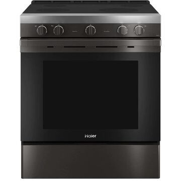 Haier Smart 30-in Smooth Surface 4 Elements 5.7-cu ft Steam Cleaning Convection Oven Slide-In Electric Range (Black Stainless) | QSS740BNTS