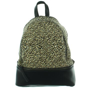 Madden Girl Womens Animal Print Faux Leather Trim Backpack