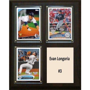 C&I Collectables MLB 8x10 Evan Longoria Tampa Bay Rays 3-Card Plaque