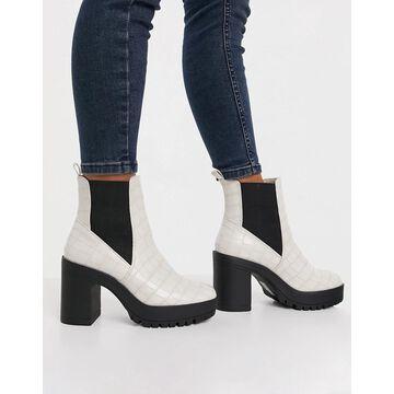 London Rebel Platform chelsea boots in black croc-Cream