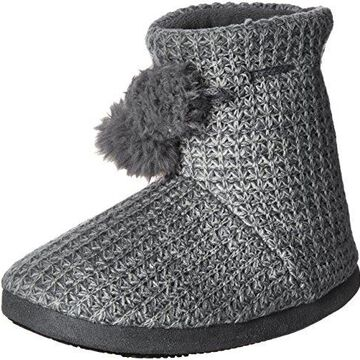 ISOTONER Womens Shaker Knit Myrna Boot Slippers, Charcoal Heather, Large/8-9 M US