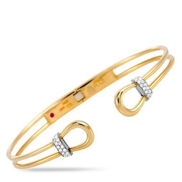 Roberto Coin Classic Parisienne Yellow and White Gold Diamond Bangle Bracelet