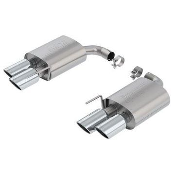 Borla 11953 S-Type Axle-Back Exhaust System; 2.5 in. Into Muffler Dual 2.5 in./3 in. Out; 4 in. Dual Round Rolled Angle Cut Tip; Dual Split Rear Exit; w/o Active Exhaust Valve; Polished;