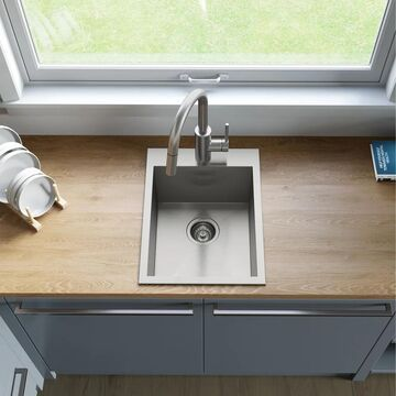Kraus KP1TS15S-1 Pax 15 inch Drop-in Stainless Steel Kitchen Sink