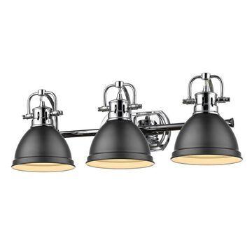 Golden Lighting Duncan 3-Light Chrome Transitional Vanity Light   3602-BA3 CH-BLK
