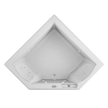 Jacuzzi Fuzion 65.75-in W x 65.75-in L White Acrylic Corner Front Center Drain Drop-In Whirlpool Tub   FUZ6666WCL5CHW