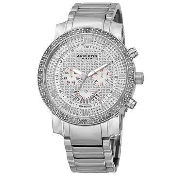 Akribos XXIV Men's Swiss Quartz Dazzling Retrograde Dual-Time Stainless Steel Bracelet Watch - silver (Silver-tone)