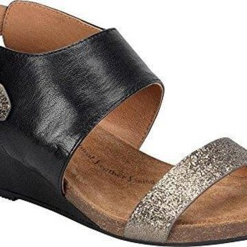 Sofft Womens Vanita Leather Open Toe Casual Slingback, Black/Copper, Size 6.5