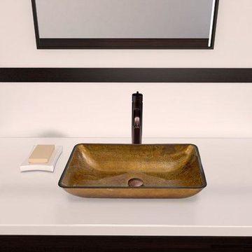 VIGO Copper Glass Rectangular Vessel Bathroom Sink