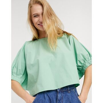 Weekday Cece organic cotton cropped balloon sleeve blouse in sage green
