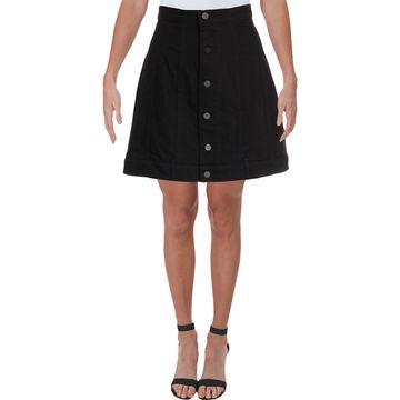 T by Alexander Wang Womens Button-Down Above Knee Denim Skirt