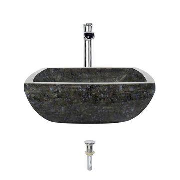 MR Direct Blue, Black, and Tan Colored Granite Granite Vessel Square Bathroom Sink with Faucet (Drain Included)