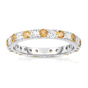 Noray Designs 14K White Gold Citrine & Diamond (1.20-1.40 Ct TW, SI2-I1 Clarity) Eternity Ring
