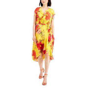 Taylor Petite Ruffled Asymmetrical-Hem Midi Dress