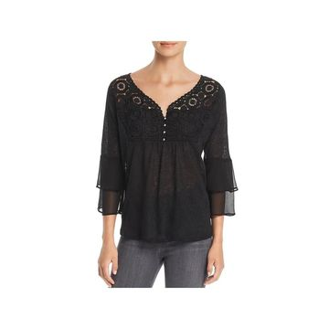August Silk Womens Pullover Top Lace Inset Bell Sleeves