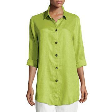 Petite Tissue Linen Boyfriend Shirt