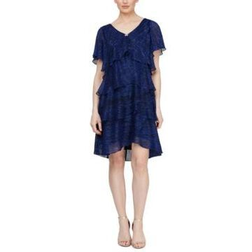 Sl Fashions Tiered Shimmer Shift Dress