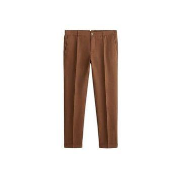 MANGO MAN - Pleated cotton linen trousers brown - 30 - Men