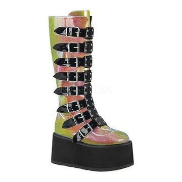 Demonia Women's Damned 318 Knee-High Platform Buckle Boot Pink Shifting Glitter Vegan Leather