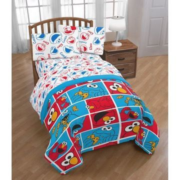 Sesame Street Cookie Squares 4 Piece Twin Bed Set
