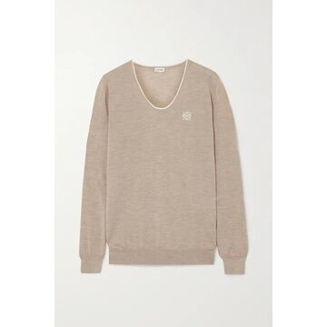 Loewe - Embroidered Cashmere And Cotton-blend Sweater - Beige
