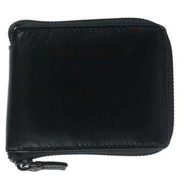 CTM Men's Leather RFID Zip-Around Wallet with Passcase