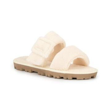 Olivia Miller Women's Amantea Fuzzy Slide Flat Sandals Women's Shoes