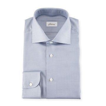 Micro Check Dress Shirt, Blue