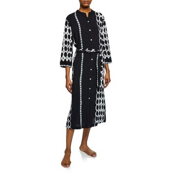 Utopia Graphic-Print Button-Down Caftan
