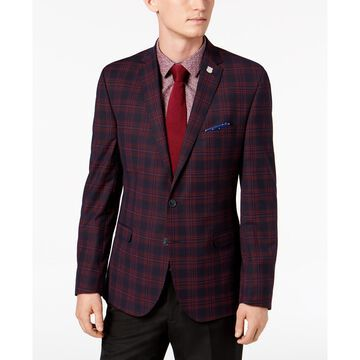 Men's Slim-Fit Stretch Navy/Red Plaid Sport Coat, Online Only