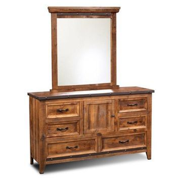 Sunset Trading Rustic City Dresser With Mirror, 6-Drawers, Storage Cabinet