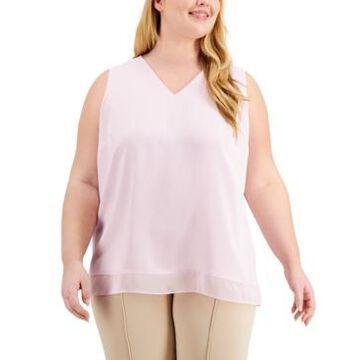 Alfani Plus Size Chiffon-Hem Top, Created for Macy's