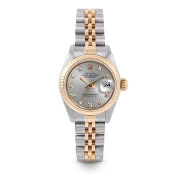 Pre-Owned Rolex 26mm Ladies Datejust Watch - 6917 - Steel & Yellow Gold - Silver Diamond Dial - Fluted Bezel - Jubilee Band