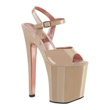 Pleaser Women's Xtreme 809TT Ankle-Strap Sandal Nude/Nude-Rose Gold Chrome Patent