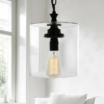 Warehouse of Tiffany Kostro 1-light Bronze and Glass Edison-style Lamp (Includes Bulb)