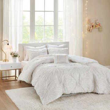 Intelligent Design Claire 4-Piece Metallic Printed Ruched Full/Queen Comforter Set in White
