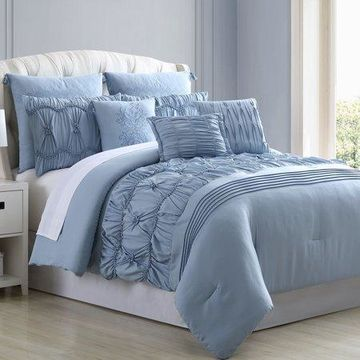 Pacific Coast Textiles 8 Piece Embellished Comforter Set - Clara, Queen