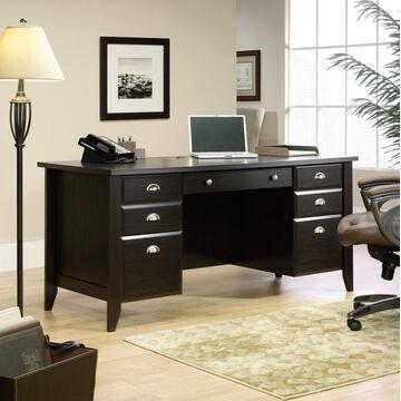 Sauder Shoal Creek Executive Desk, Jamocha Wood Finish