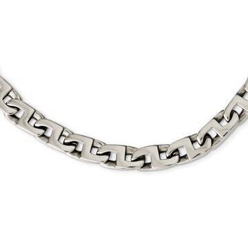Primal Steel Stainless Steel Polished Fancy Squares Link Necklace