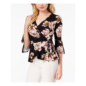 BCX Womens Black Floral Print 3/4 Sleeve V Neck Wrap Top Size: XS