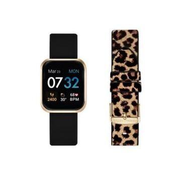 Women's Kendall + Kylie Black and Leopard Print Straps Smart Watch Set 36mm