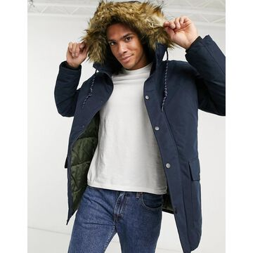 Jack & Jones Originals parka with faux fur hood in navy